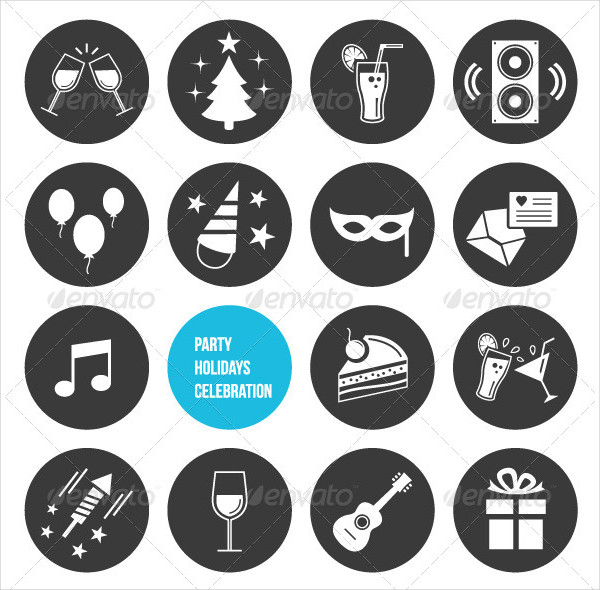 Vector Holiday Party Celebration Icons