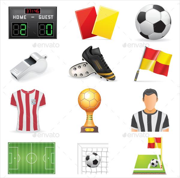 Soccer Icon Set Isolated on White Background