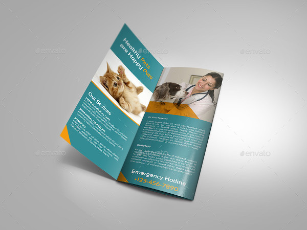 Veterinarian Clinic Tri-Fold Brochure Template