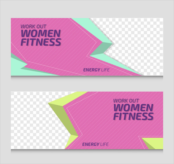 Women Fitness Banner Pack Free Vector