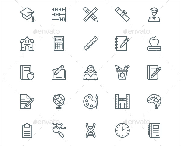 240 Education And School Line Icons