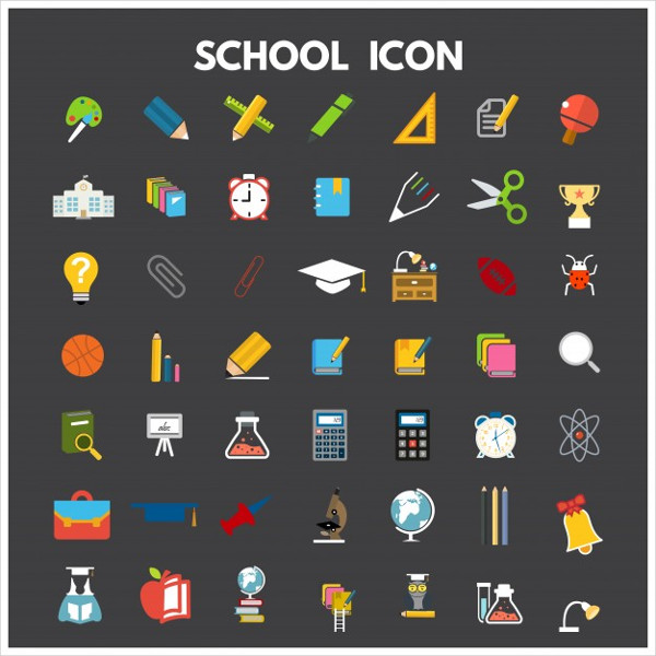 Set of Flat School Icon Free Vector