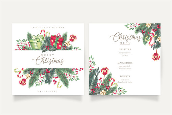 Cute Christmas Menu and Card Template Free Download
