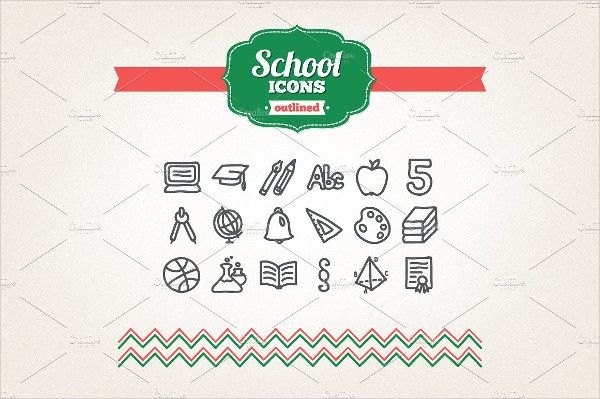 Hand Drawn School Icons