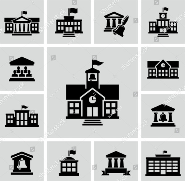 School Building Icons Collection