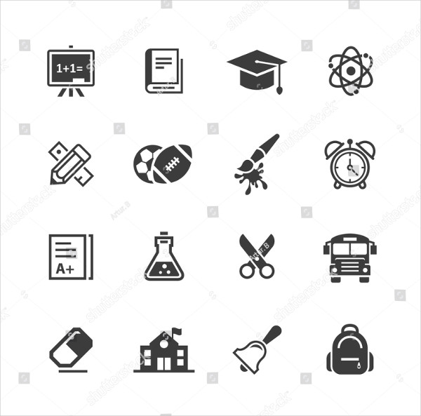 Clean School Icon Set
