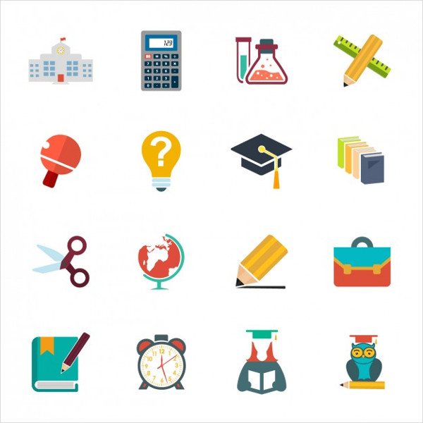 School Icon Collection Free Vector