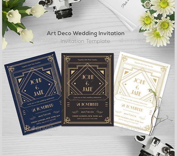 29 art deco wedding invitations free premium download
