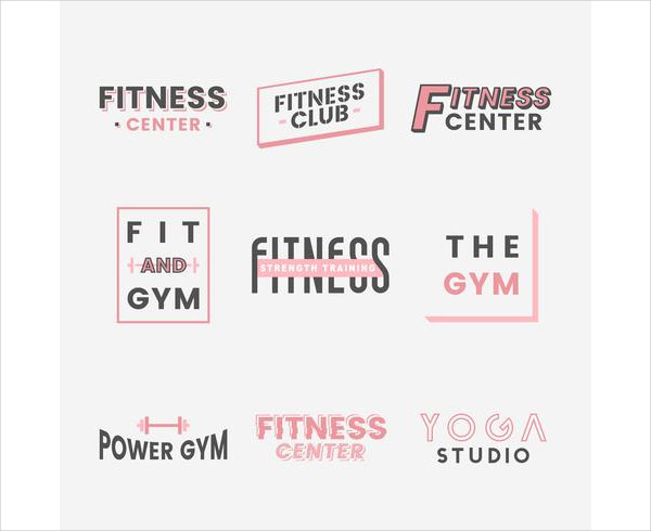 Set of Fitness Club Logos Free Download