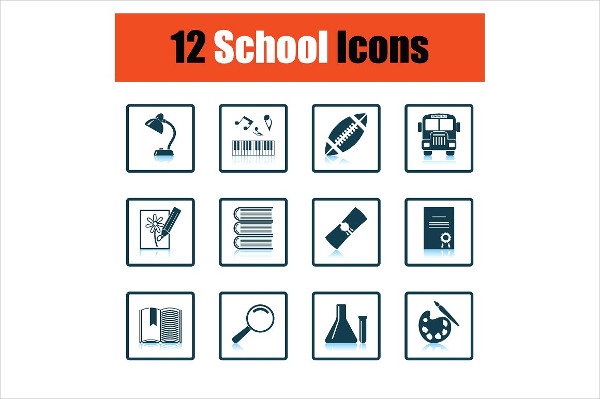 Flat Design School Icon Set