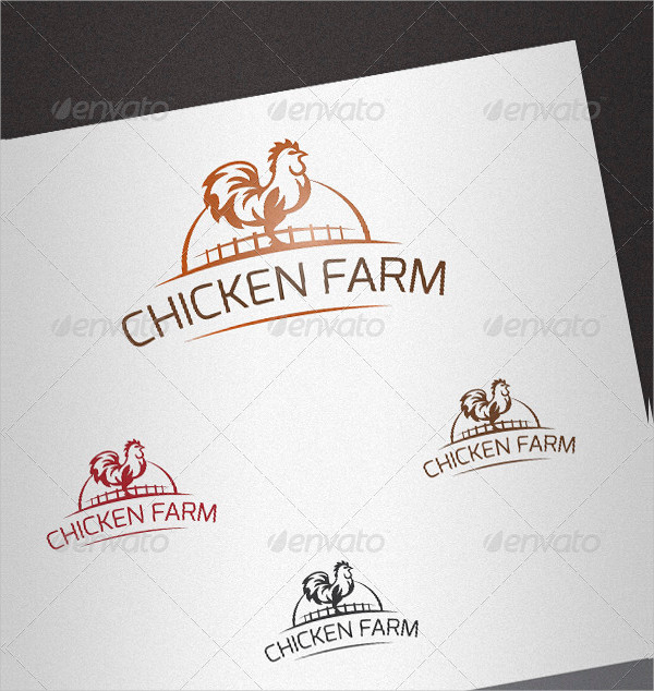 Simple Chicken Farming Logo Template