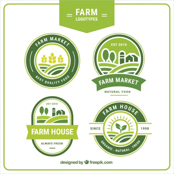 Collection of Four Green Farm Logos Free Vector