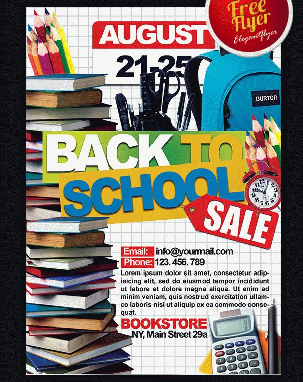 Free PSD Back to School Sale Flyer Template