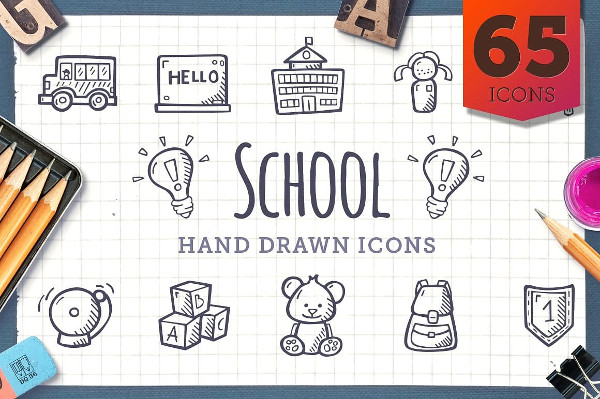 Hand Drawn Icons Bundle of School