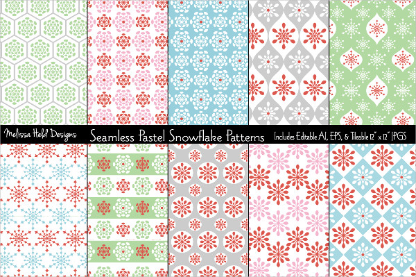 Seamless Pastel Snowflake Patterns