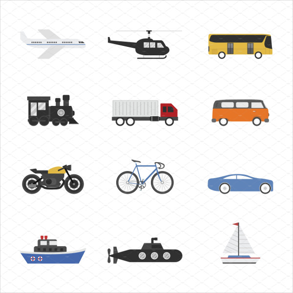 Set of Vehicle Icon on White Background
