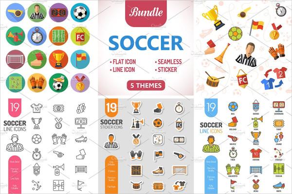 Soccer Icon & Seamless Pattern Set