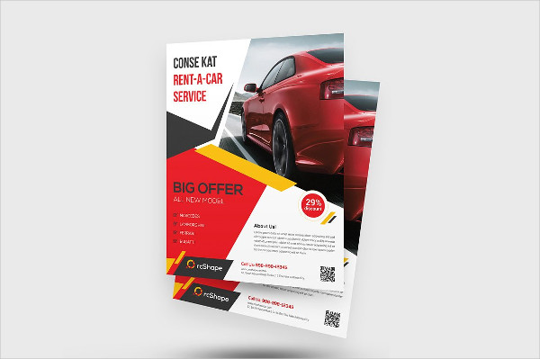 Clean Rent A Car Flyer Template