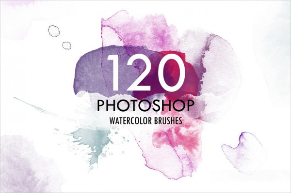 120 Watercolor Photoshop Brush Set