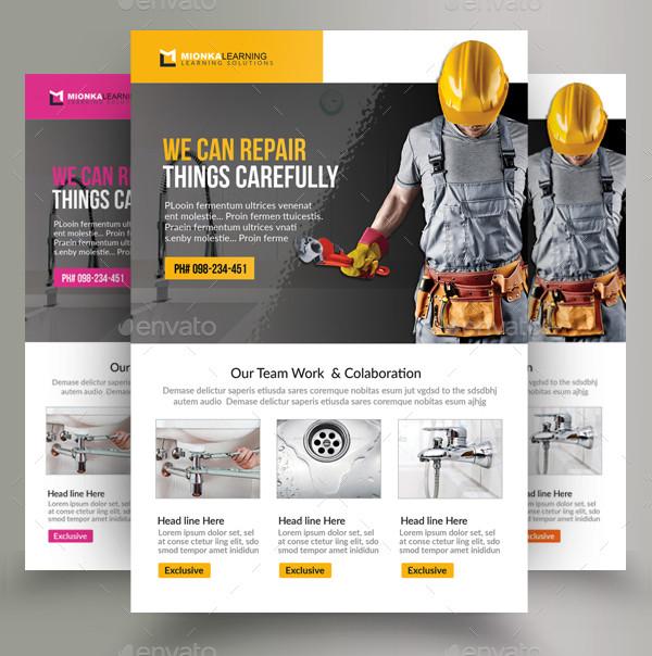 3 Handyman & Plumber Services Flyers Bundle