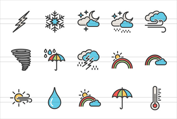 30 Weather Linear Multicolor Icons