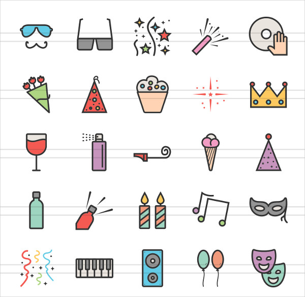 50 Party Linear Multicolor Icons