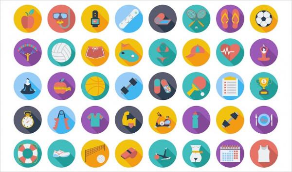 64 Professional Fitness Icons Set