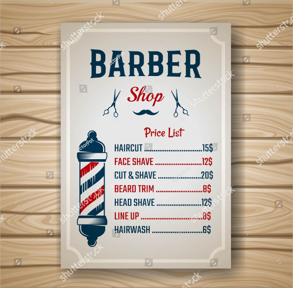 Colorful Barber Shop Price Lists Template