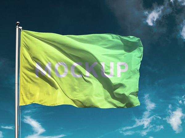 Blowing Flag Mockup Free Download