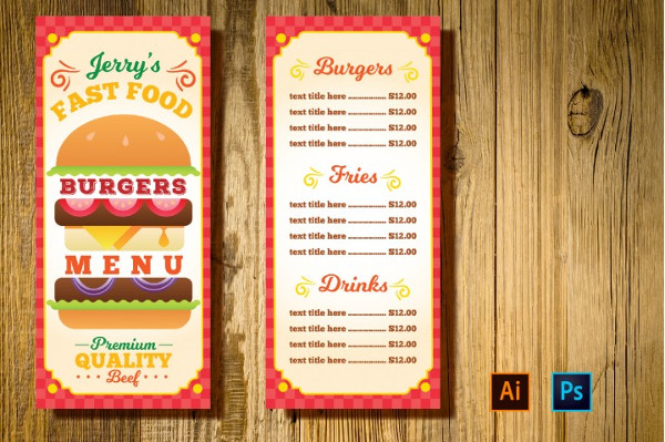 Burger Resto Menu Card Flyer