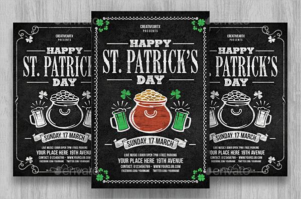 Chalkboard St Patricks Day Flyer Template