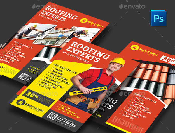 Clean Roofing Experts Flyer Template