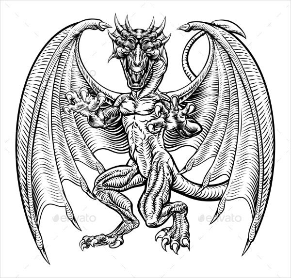 Dragon Tattoo Design in Vintage Style