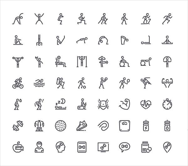 56 Fitness Line Icons Set