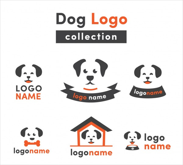 Flat Collection of Dog Logos Free