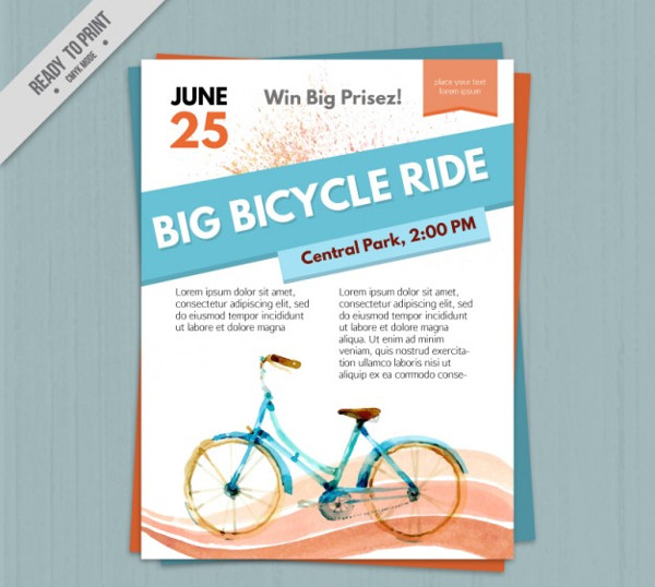 Free Watercolor Bicycle Flyer Template