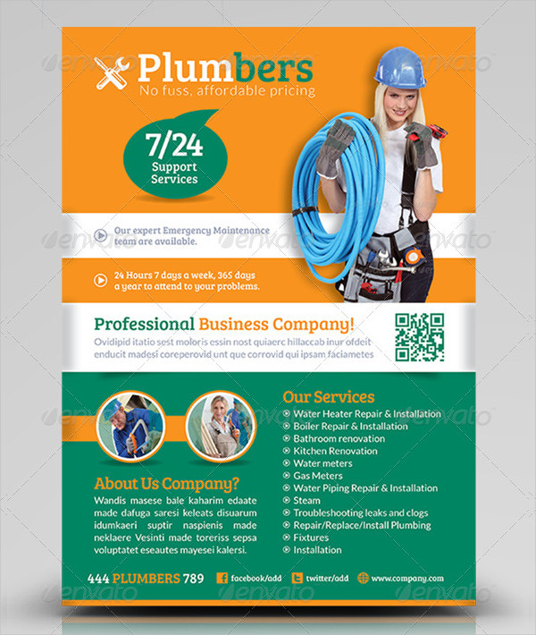 Fully Editable Plumbing Business Flyer Template