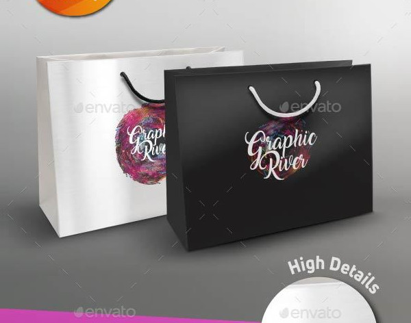 Glossy Paper Shopping Gift Bag Mockup