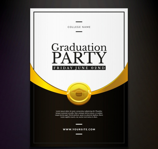Graduation Party Flyer Invitation Free Vector