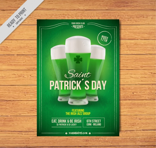 Green Patrick's Day Flyer Free Vector