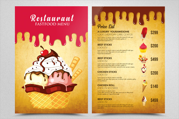 Ice Cream Restaurant Menu Flyer Template