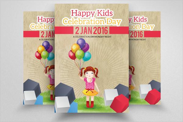Kids Birthday Invitation Flyer Template