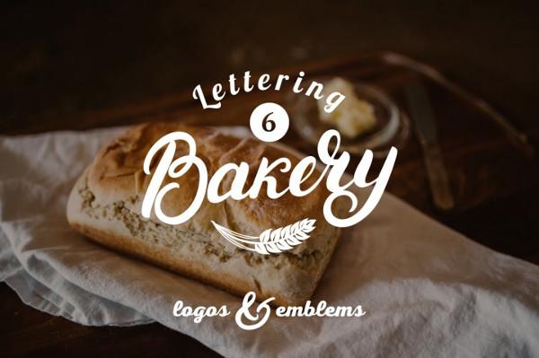 6 Lettering Bakery Logo Set
