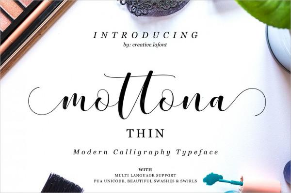Mottona Thin Script Font