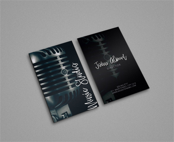 Music Studio Singer Business Card Template