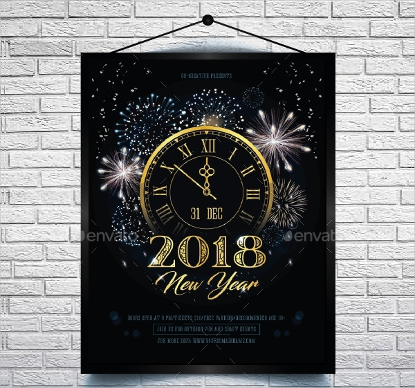 New Year Invitation Flyer or Poster Template