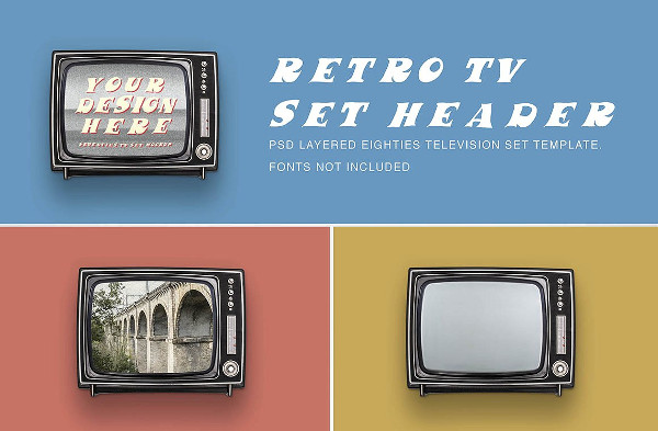 Old TV Set Header Mockup