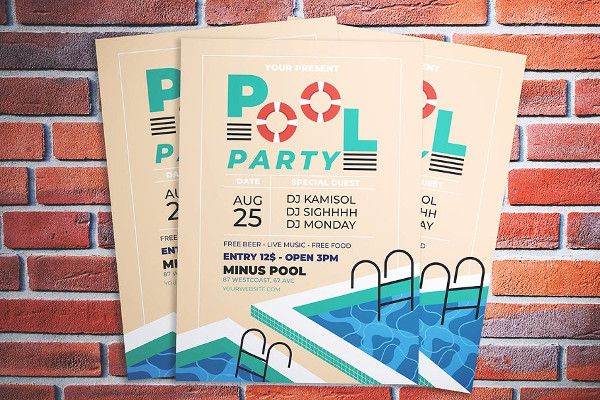 PSD Pool Party Promotion Flyer Design