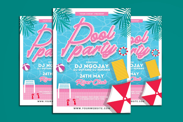 Pool Party Summer Time Flyer Template