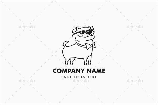 Pug Dog Company Logo Design Template